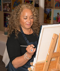 Main Avenue Galleria owner & artist, Norma Tolliver, painting classes, Ocean Grove, NJ