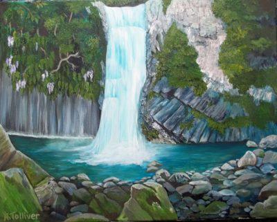 water falls, rocks, water, romantic