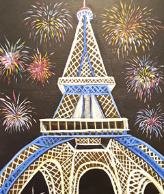 Sips & Serendipity, Guided Painted Class, Ocean Grove, Eiffel Tower