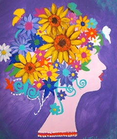 Sips & Serendipity, guided painting class, ocean grove, head of flowers