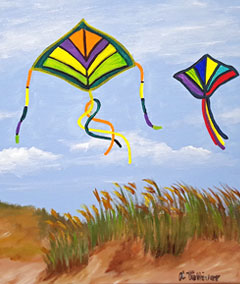 Sips & Serendipity, guided painting class, ocean grove, kites