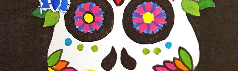 Sips & Serendipity, guided painting class, ocean grove, sugar skull