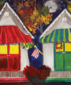 Sips & Serendipity, guided painting class, ocean grove, tents