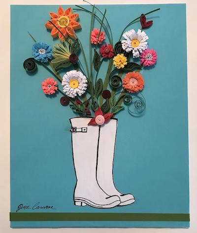 Paper Quilling Flower Boot Bouquet Main Avenue Galleria School