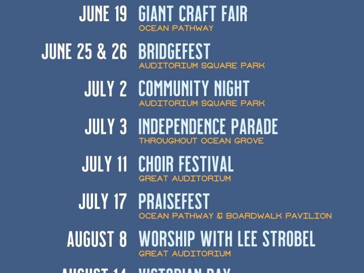 2021 Ocean Grove Camp Meeting Calendar of Events
